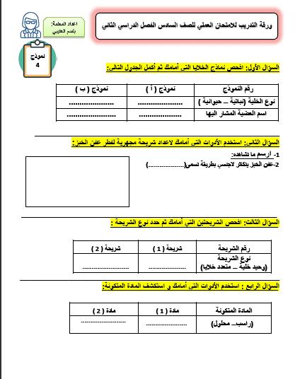 ورقة التدريب 4 للامتحان العملي علوم للصف السادس الفصل الثاني إعداد أ. بلسم العتيي