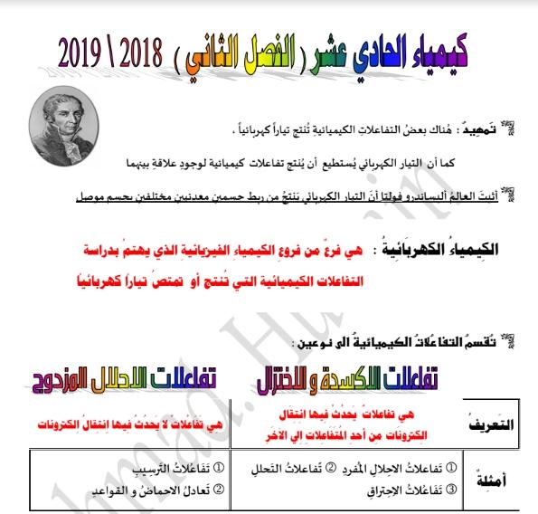 مذكرة كيمياء الصف الحادي عشر الفصل الثاني إعداد أحمد حسين 2018-2019