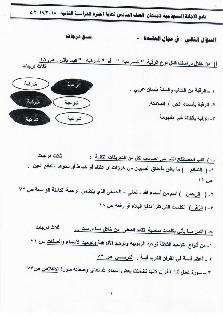 اجابة اختبار اسلامية الصف السادس الفصل الثاني الفروانية 2018-2019