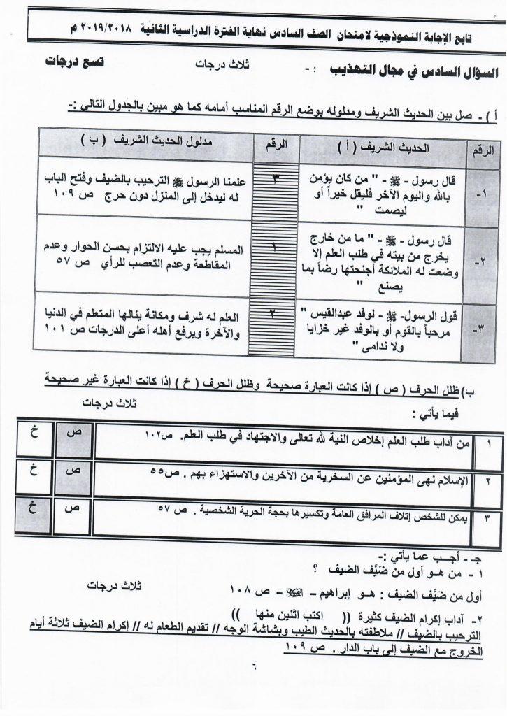 نموذج اجابة اختبار اسلامية الصف السادس