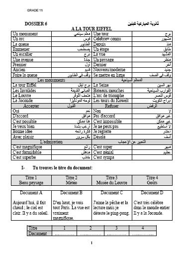 شرح كامل لوحدات اللغة الفرنسية للصف الحادي عشر أدبي الفصل الثاني ثانوية المباركية