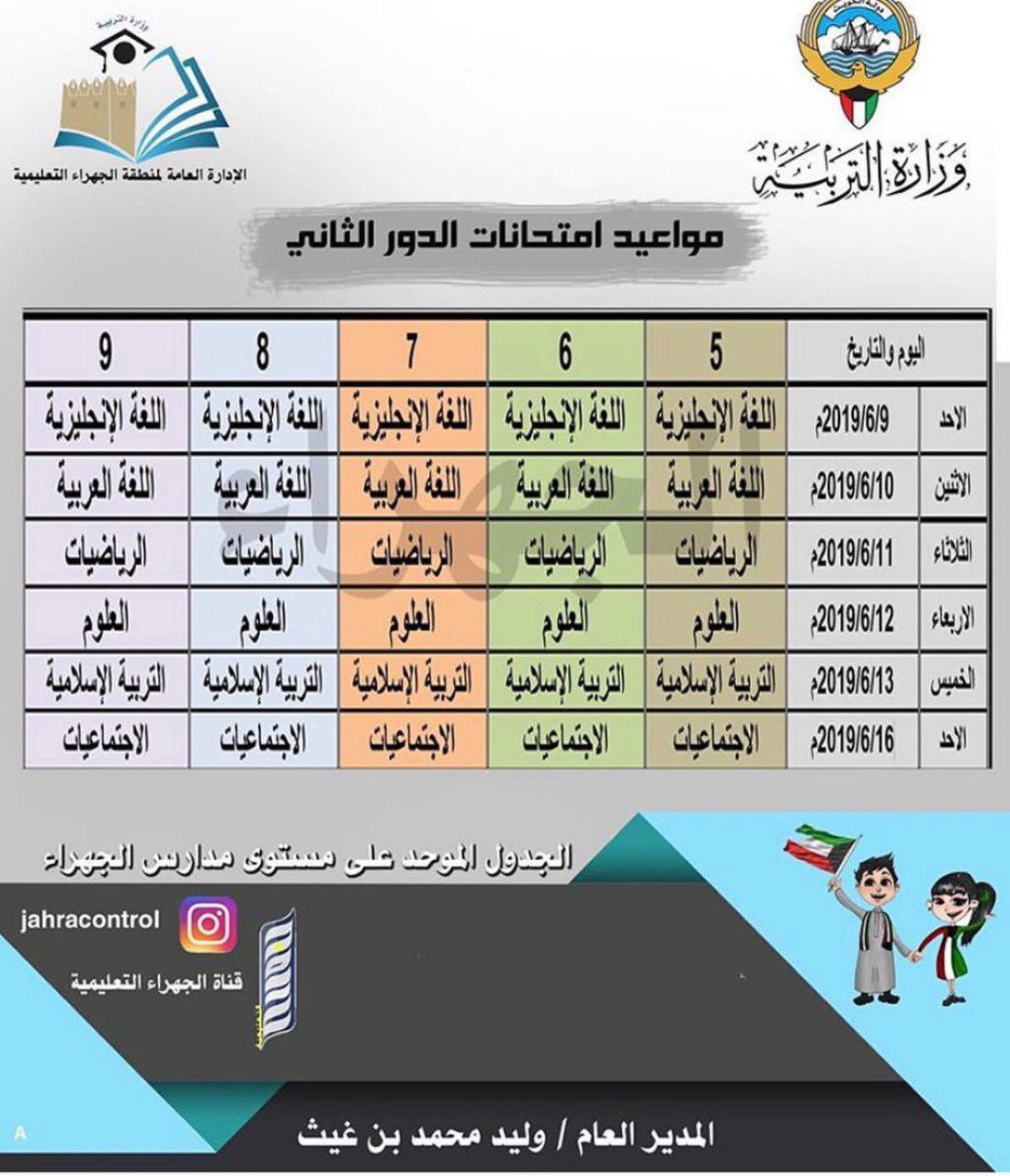 جدول اختبارات الدور الثاني منطقة الجهراء التعليمية 2018-2019