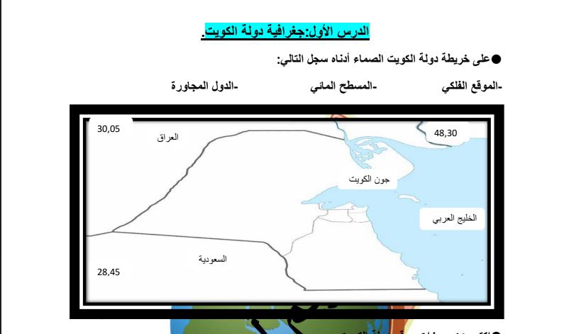 حل انشطة كتاب تاريخ الكويت للطالب كريم الحرفوش