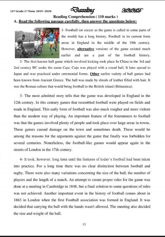 مراجعات انجليزي للصف الحادي عشر الفصل الاول اعداد هشام السخاوي