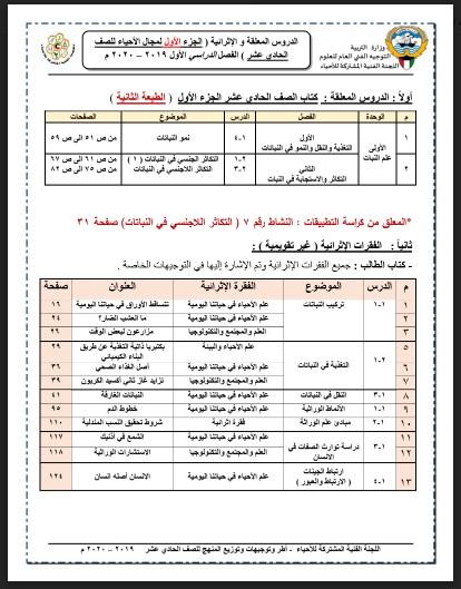 مقرر الدروس الملغيه لماده الأحياء للصف الحادي عشر علمي الفصل الأول للعام ٢٠٢٠/٢٠١٩