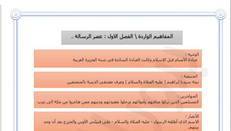 مفاهيم التاريخ الاسلامية للصف الحادي عشر الفصل الاول المعلمة بدور العنزي