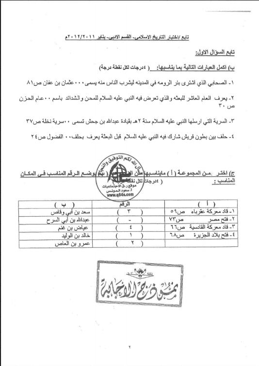 نموذج الاجابة امتحان تاريخ الصف الحادي عشر الفصل الاول 2011-2012