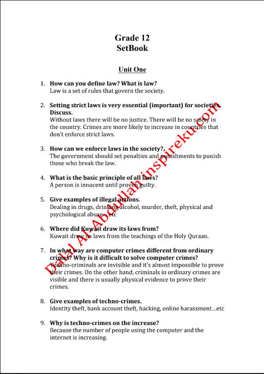 اسئلة الكتاب انجليزي الصف الثاني عشر الفصل الاول