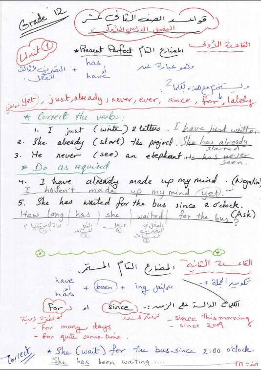 قواعد الانجليزي للصف الثاني عشر الفصل الاول