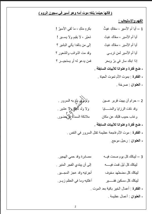 مذكرات العشماوي درس ام الاسير للصف الثاني عشر الفصل الاول