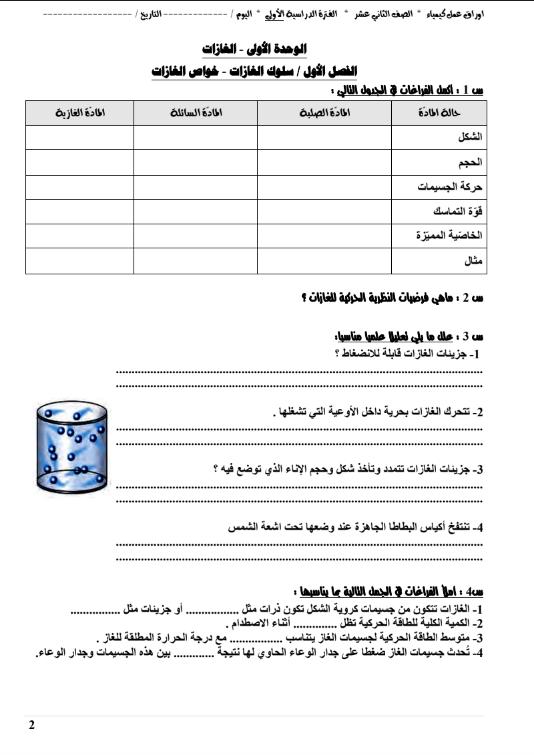 اوراق عمل كيمياء الصف الثاني عشر الفصل الاول