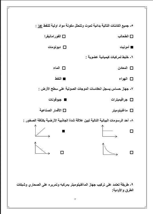 بنك اسئلة وحدة النفط محلول الصف التاسع الفصل الاول