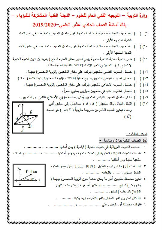 بنك أسئلة فيزياء غير محلول الصف الحادي عشر الفصل الاول التوجيه الفني