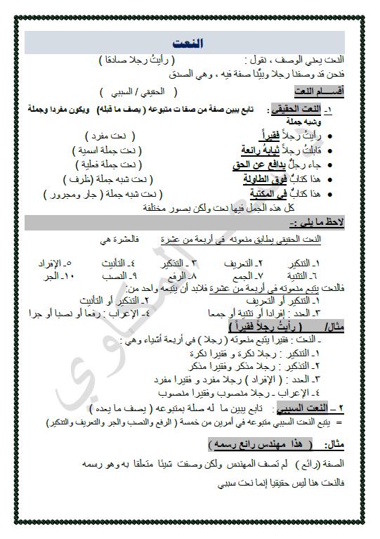 مذكرات المكاوي لغة عربية النحو الصف الثاني عشر الفصل الأول إعداد سعد المكاوي