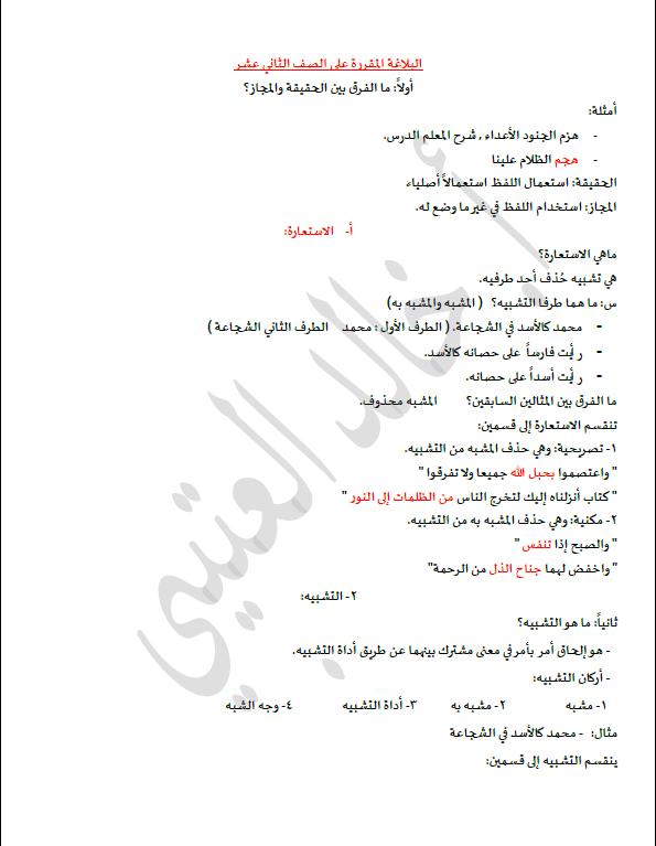 مراجعة بلاغة الصف الثاني عشر الفصل الأول الأستاذ خالد العتيبي