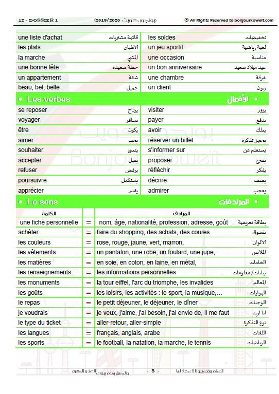 مذكرة لغة فرنسية الصف الثاني عشر الفصل الأول
