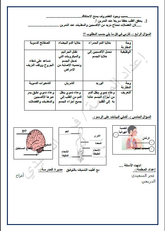 مراجعة العلوم الصف الخامس الفصل الاول