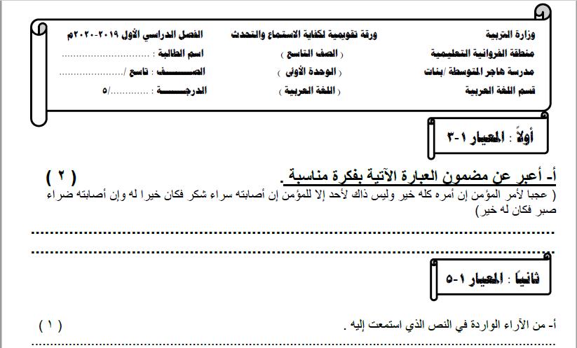 ورقة كفاية الاستماع والتحدث لغة عربية الصف التاسع الفصل الأول مدرسة هاجر