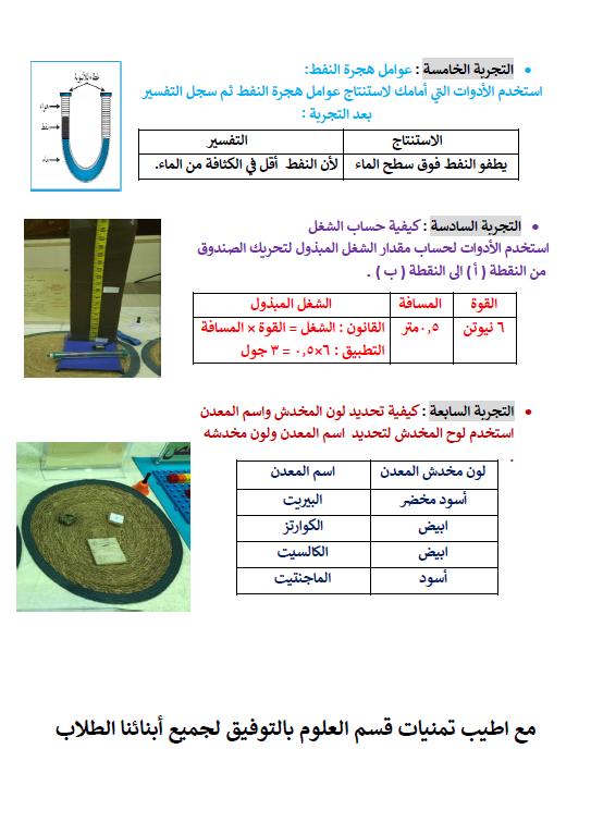 التجارب العملية علوم الصف التاسع الفصل الأول مدرسة إبراهيم مهنا المهنا
