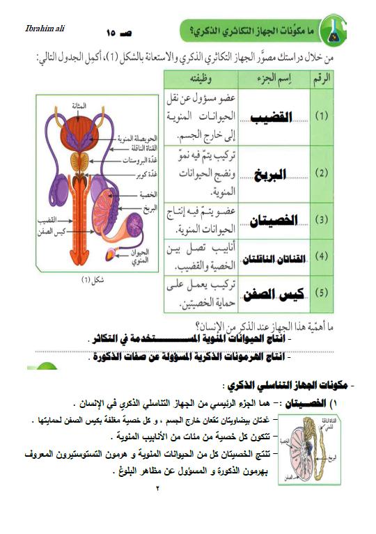 تلخيص علوم التكاثر الصف التاسع الفصل الأول إعداد ابراهيم علي