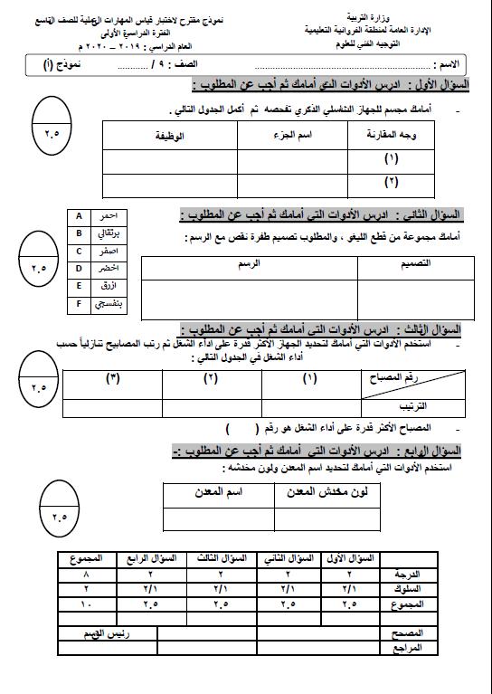 نموذج اختبار عملي علوم (أ) الصف التاسع الفصل الأول التوجيه الفني