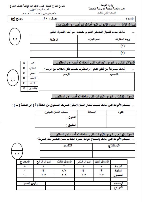 نموذج اختبار عملي علوم (ج) الصف التاسع الفصل الأول التوجيه الفني