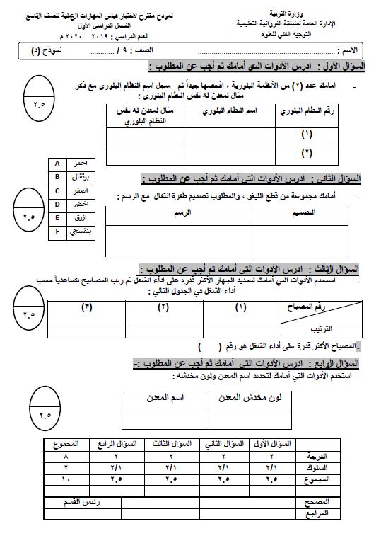 نموذج اختبار عملي علوم (د) الصف التاسع الفصل الأول التوجيه الفني