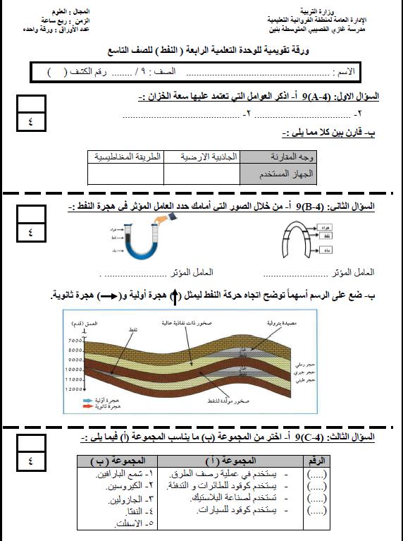 ورقة تقويمية الوحدة الرابعة علوم الصف التاسع الفصل الأول مدرسة غازي القصيبي