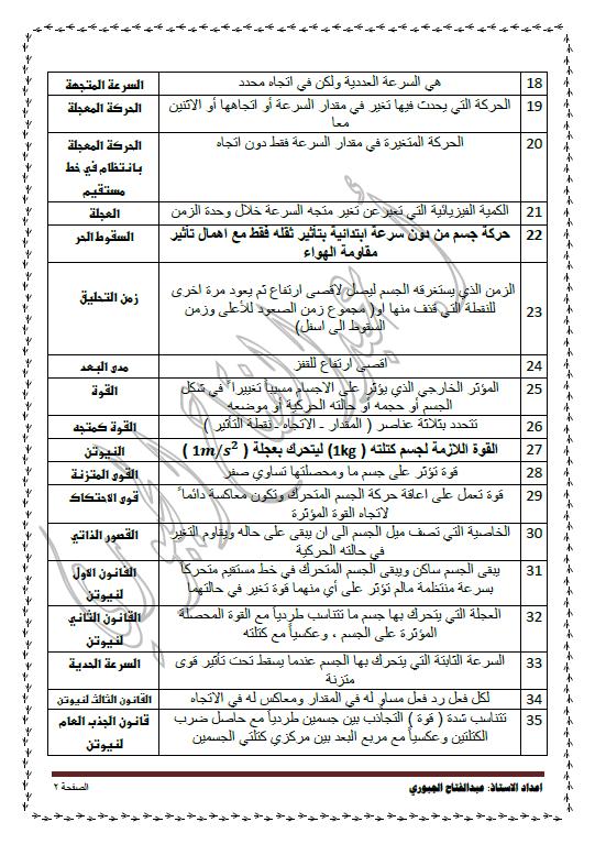 مراجعة ليلة الاختبار فيزياء الصف العاشر الفصل الأول عبد الفتاح الجبوري