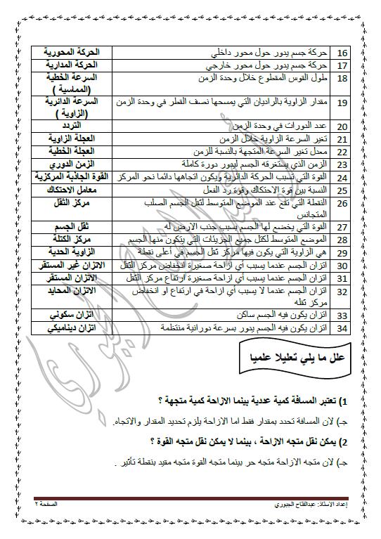 مراجعة ليلة الاختبار فيزياء الصف الحادي عشر الفصل الأول عبد الفتاح الجبوري