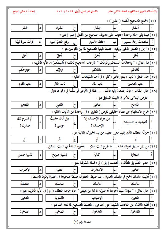 بنك أسئلة لغة عربية الصف الثاني عشر الفصل الأول الأستاذ هاني البياع