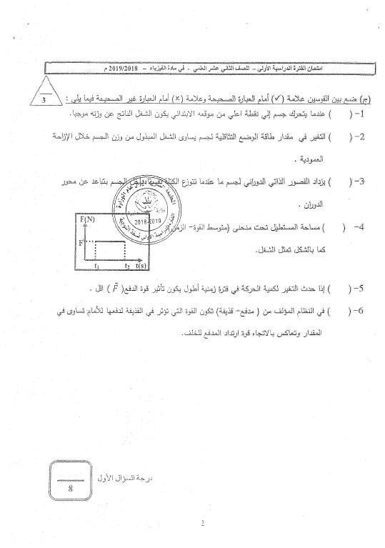 اختبارات الأعوام السابقة فيزياء مع نماذج الإجابة الصف الثاني عشر الفصل الأول