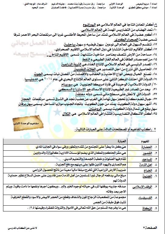 بنك أسئلة اجتماعيات الصف الثامن الفصل الأول مدرسة رقية بنت محمد