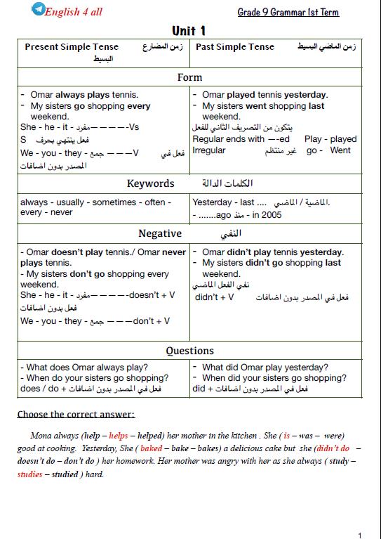 مذكرة قواعد انجليزي محلولة الصف التاسع الفصل الأول إعداد مصطفى الجندي