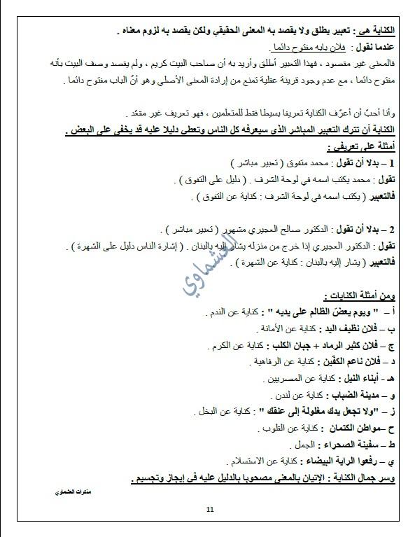 مذكرات العشماوي لا تحاسدوا لغة عربية الصف العاشر الفصل الثاني