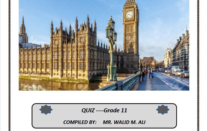 بنك أسئلة انجليزي الصف الحادي عشر الفصل الثاني الأستاذ وليد علي