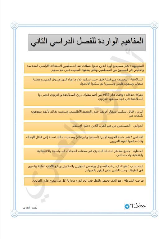 مفاهيم التاريخ الإسلامي الصف الحادي عشر الفصل الثاني المعلمة بدور العنزي