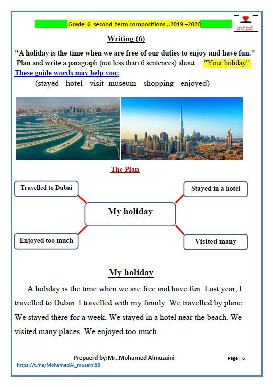 موضوعات تعبير انجليزي الصف السادس الفصل الثاني الأستاذ محمد المزيني 2020