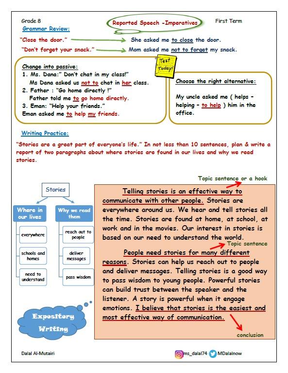 تشجيرات لغة إنجليزية الصف الثامن الفصل الثاني المعلمة دلال المطيري