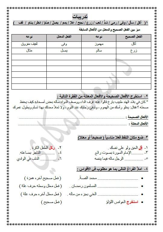 الأفعال الصحيحة والمعتلة لغة عربية الصف العاشر الفصل الثاني الأستاذ سعد المكاوي