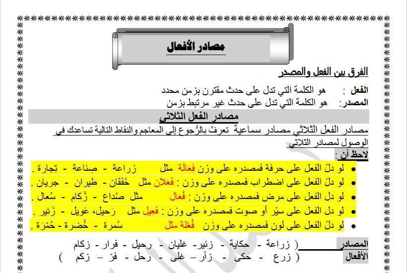 مصادر الأفعال لغة عربية الصف العاشر الفصل الثاني الأستاذ سعد المكاوي
