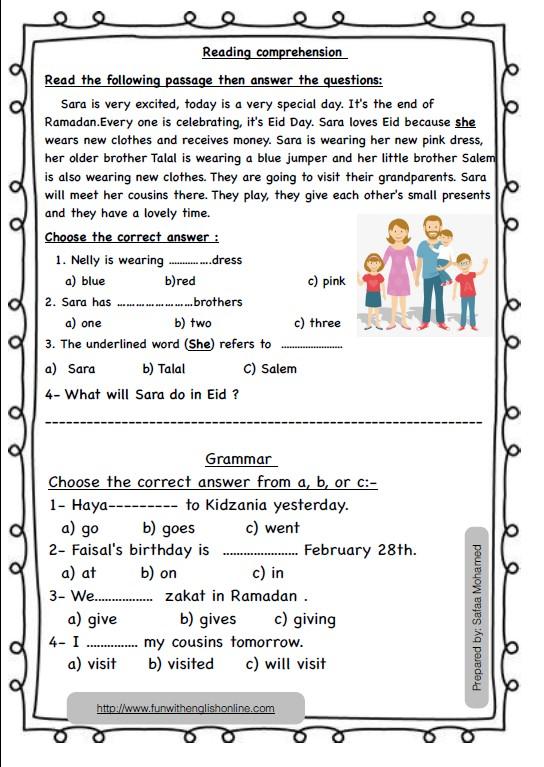 ورقة عمل انجليزي الصف الثالث الفصل الثاني المعلمة صفاء محمد