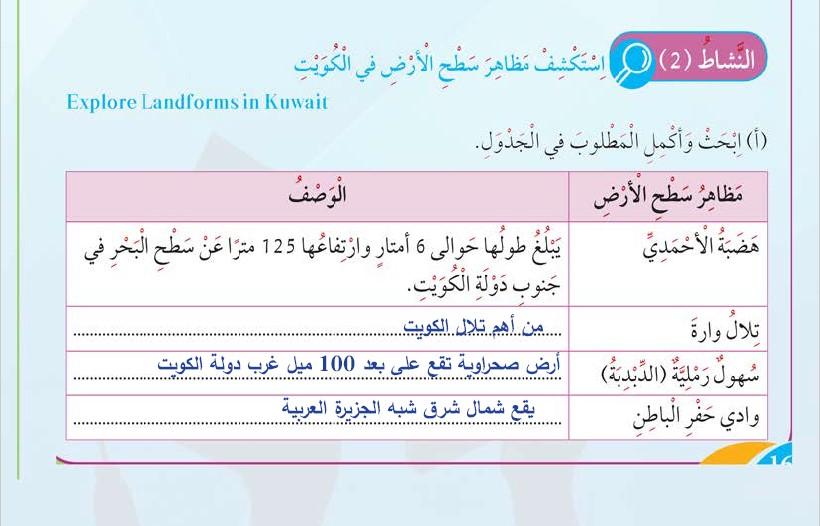 حل كتاب العلوم الوحدة الأولى (مظاهر سطح الأرض في دولة الكويت) الصف الثالث