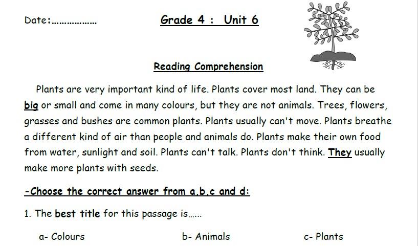 أوراق عمل إنجليزي الوحدة السادسة الصف الرابع الفصل الثاني