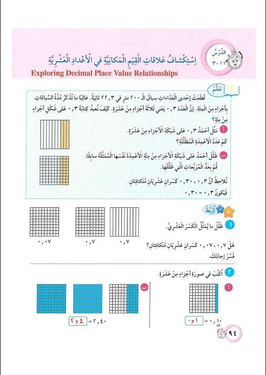 حل الوحدة الحادية عشر (الأعداد العشرية) رياضيات الصف الرابع الفصل الثاني