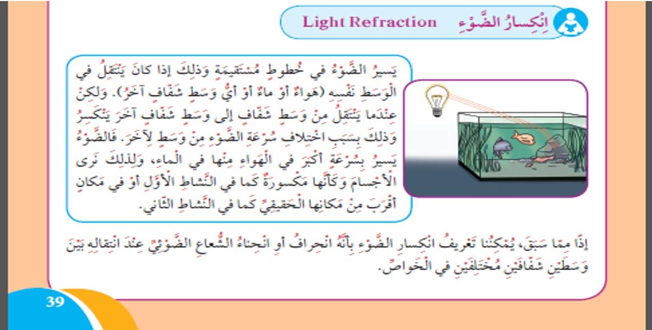درس لماذا ينكسر الضوء علوم الصف الرابع الفصل الثاني الأستاذ محمد مبارك
