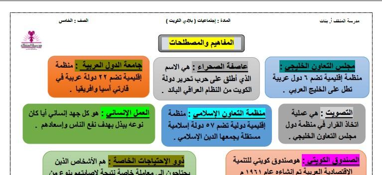 ورقة مفاهيم ومصطلحات اجتماعيات الصف الخامس الفصل الثاني مدرسة المنقف