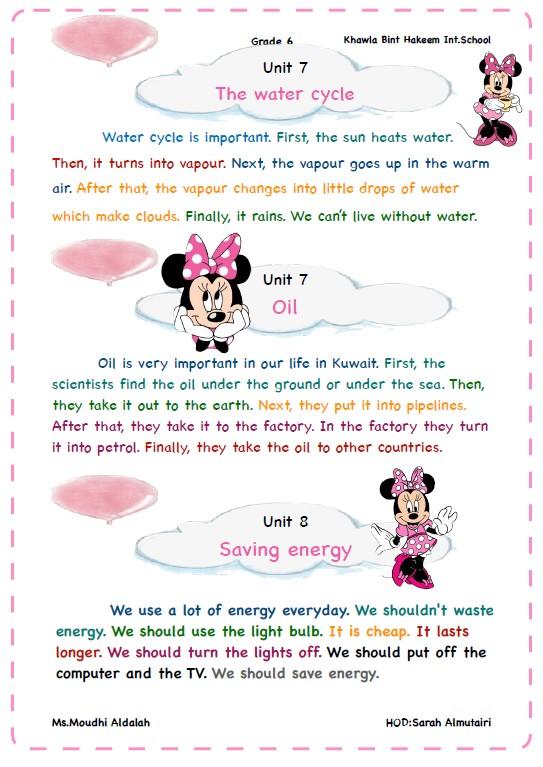 مواضيع تعبير لغة إنجليزية الصف السادس الفصل الثاني