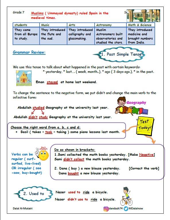 تشجيرات لغة إنجليزية الصف السابع الفصل الثاني المعلمة دلال المطيري