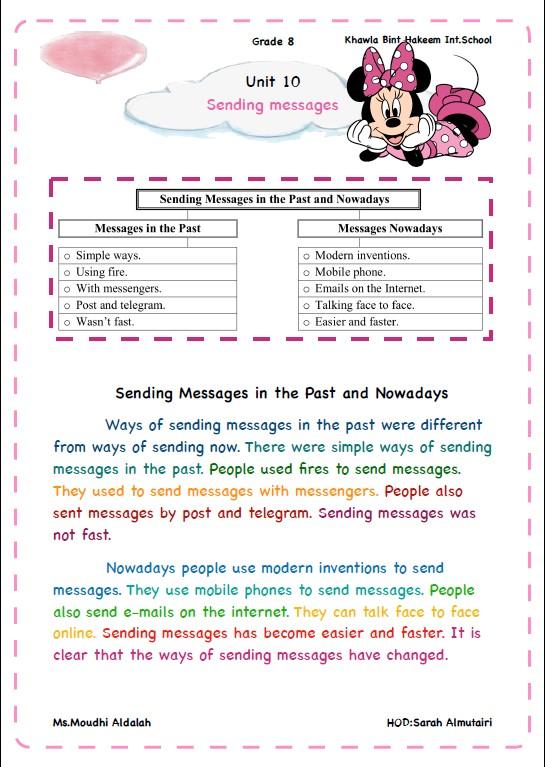 مواضيع تعبير لغة إنجليزية الصف الثامن الفصل الثاني مدرسة خولة بنت حكيم
